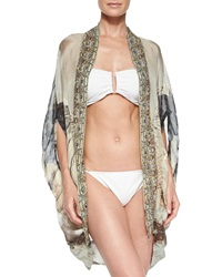 Camilla Open Front Printed Cardigan Cape Coverup