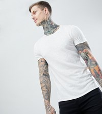 Heart And Dagger Muscle Fit T Shirt With Embroidery White