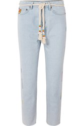 Mira Mikati Cropped Embroidered High Rise Straight Leg Jeans Light Denim