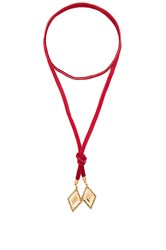 Vanessa Mooney Leather And Diamond Bolo Red
