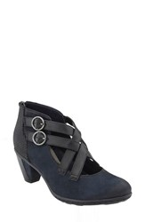 Earthr Women's Earth 'Amber' Buckle Bootie Navy Nubuck Leather