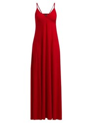 Norma Kamali V Neck Jersey Slip Dress Red