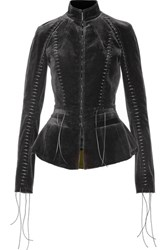 Haider Ackermann Lace Up Velvet Jacket Black