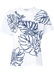 Moncler Embroidered T Shirt White