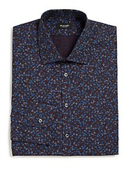 Sand Regular Fit Floral Print Dress Shirt Burgundy