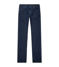 Canali Solid Denim Jeans Male Blue