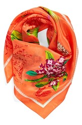 Women's Echo 'Vintage Lily' Print Silk Square Scarf Coral Island Coral