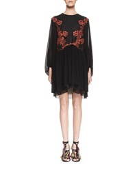 Chloe Embroidered Long Sleeve Shift Dress Black Orange