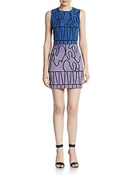 Versace Colorblock Suede Mini Dress Indigo Multi