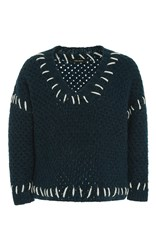 Isabel Marant Goldy Contrast Stitch Jumper Dark Green