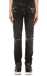 Balmain Men's Washed Skinny Biker Jeans Black