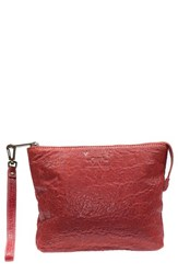 Will Leather Goods 'Opal' Large Grain Leather Wristlet Red Rust