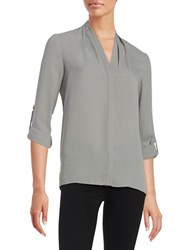 T Tahari Button Front Blouse Silver