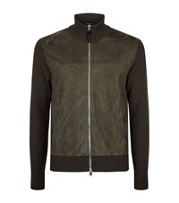 Tom Ford Suede Panel Knitted Zip Up Fleece Male Khaki