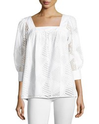 Milly Embroidered Cotton Eyelet Square Neck Top White