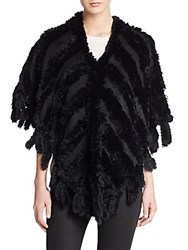 Saks Fifth Avenue Rabbit Fur Shawl Black