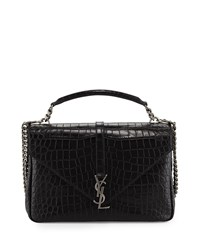 Saint Laurent Monogram College Croc Embossed Crossbody Bag Black Noir Men's