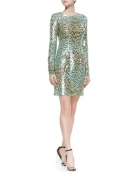 Monique Lhuillier Long Sleeve Melange Sequin Sheath Dress Mint