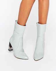 Lost Ink Geneva Grey High Cut Clear Heel Ankle Boots Grey