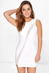 Boohoo Nicole Mesh Detail Bodycon Dress Cream