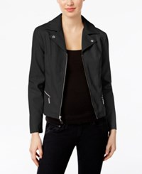 Alfani Petite Faux Leather Moto Jacket Only At Macy's Deep Black