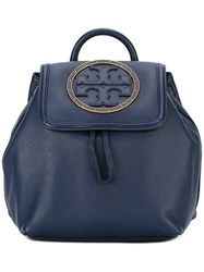 Tory Burch Logo Front Backpack Blue