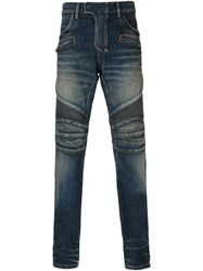 Balmain Washed Biker Jeans Blue