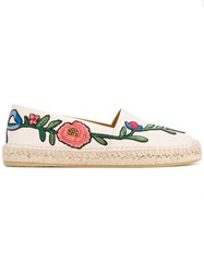 Gucci Floral Embroidery Espadrilles Women Leather Rubber 41 White