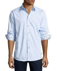 English Laundry Check Print Button Front Sport Shirt Blue