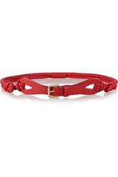 Red Valentino Leather Trimmed Woven Belt