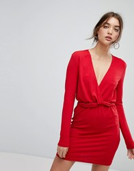 Ivyrevel Long Sleeved Dress With Ruffle Waist Hot Red