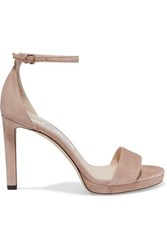 Jimmy Choo Misty 120 Suede Sandals Neutral