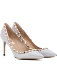 Valentino Rockstud Patent Leather Pumps Grey