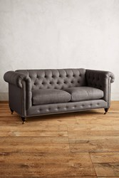 Anthropologie Linen Lyre Chesterfield Sofa Hickory Legs Dark Grey