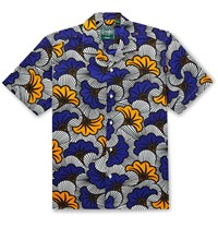 Gitman Brothers Vintage Camp Collar Printed Cotton Shirt Blue