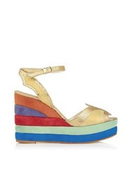 Terry De Havilland Sima Rainbow Wedge Platform Sandals Multi