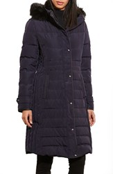 Lauren Ralph Lauren Women's Quilted Three Quarter Coat With Faux Fur Trim Dark Navy