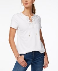 Charter Club Lace Up T Shirt Created For Macy's Bright White