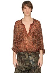 Faith Connexion Leopard Printed Silk Voile Tunic Shirt