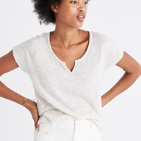Madewell Choral Split Neck Tee In Highsmith Stripe Bright Ivory