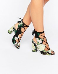 Asos Holiday Ghillie Tie Heeled Sandals Embroidery Multi