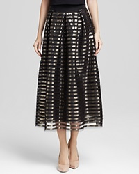 Abs By Allen Schwartz Skirt Metallic Stripe Mesh Midi Black Gold
