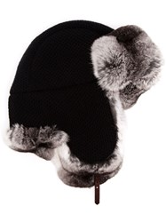 Inverni Chinchilla Fur Lined Trapper Hat Black