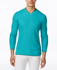 Tommy Hilfiger Men's Thomas Long Sleeve Tipped V Neck Sweater Baltic Lake Blue