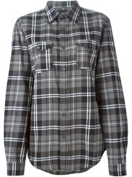 Les Artists Les Art Ists 'Wang 83' Printed Checked Shirt Grey
