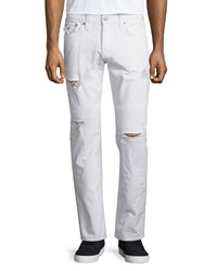 True Religion Geno Ripped And Worn Denim Jeans White Rapids Women's