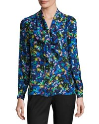 Milly Long Sleeve Jewel Print Satin Chiffon Tie Neck Blouse Multi Multi Pattern