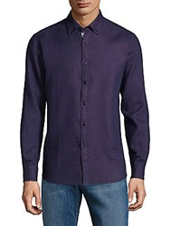 Report Collection Textured Cotton Button Down Shirt Purple