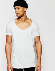 Asos Longline T Shirt With Wide Scoop Neck And Raw Edge In Grey Flat Grey