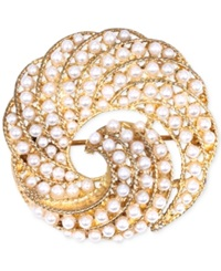Jones New York Gold Tone Faux Pearl Swirl Pin